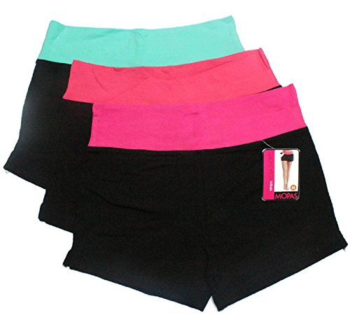 Mopas 3 Pack Yoga Shorts with Fold Over Solid Waistband