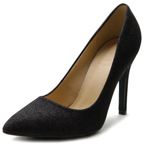 Ollio Women'S Shoe Glitter High Heel D'Orsay Pointed Toe Pump(9 B(M) Us, Black)