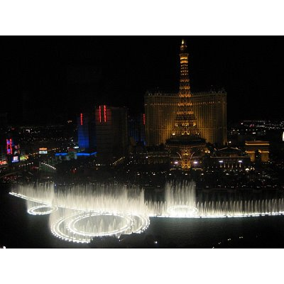 Professionally Framed Las Vegas (Paris Hotel & Bellagio Fountain at Night) Art Poster - 11x17 with RichAndFramous Black Wood Frame