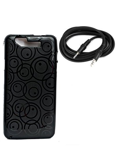 Xolo Q3000 Exclusive Textured Black Soft Back Case Cover Back Cover+ Free 3.5 MM Aux Audio Cable-ECellStreet