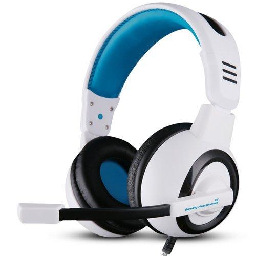 Ovann Stereo PC Gaming Headset, Over-Ear di illuminazione a LED, rumore che annulla le cuffie per PC del gioco, compresse, computer portatili con in-linea di controllo remoto, microfono regolabile (Bianco/Blu)