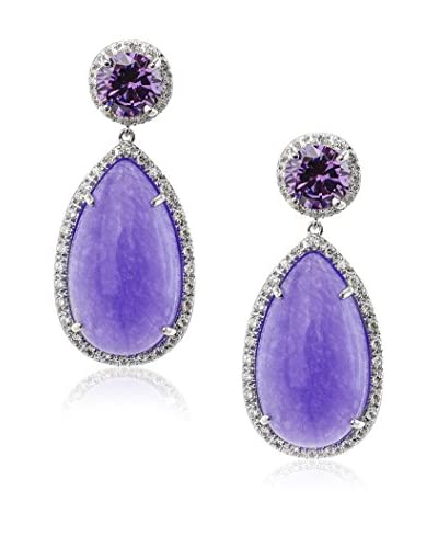 CZ by Kenneth Jay Lane P/14 Cttw Pear Jade with Pavé Halo Earrings