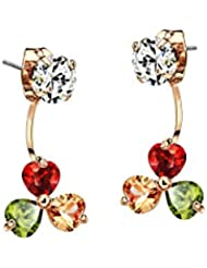 Swarovski Elements AAA Zircon Copper Rose Gold Plated Drop Earrings For Women By Ananth Jewels