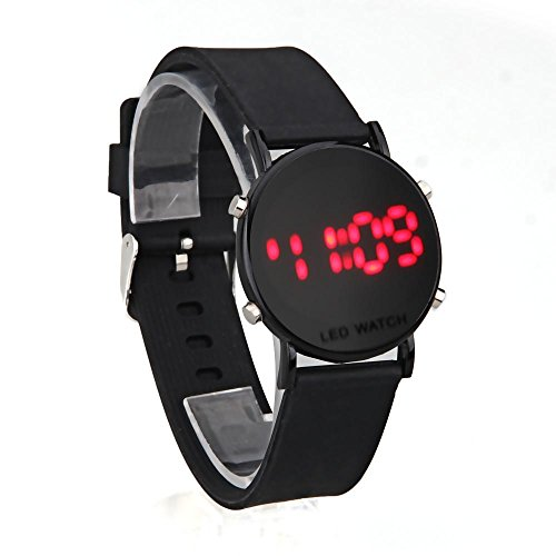 FACILLA® Digital Red LED Black Silicone Band Round Dial Wrist Watch Wristwatch Men Lady