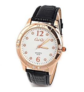 CaiQi Women Watch Black Leather Band Wrist Watch 593A