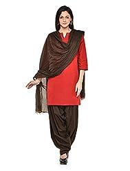 Stylenmart Women Cotton Solid Full Patiala Salwar Dupatta Set (Stmapa078607 _Brown _Free Size)