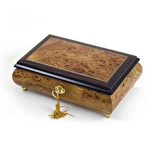 Classic Style 18 Note Light Burl-Elm with Rosewood Border Musical Jewelry Box with 18 Note Tune-Take Me Home Country Roads (John Denver)