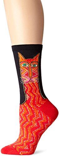 k-bell-calcetines-de-laurel-burch-bolso-tribal-zig-zag-cat-rojo-acrilico-multicolor
