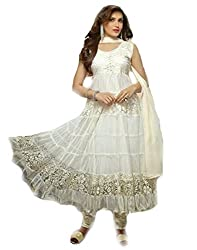 fashion on sky- white brasso embroydery anarkali suit