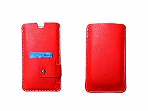 ATV Genuine Leather ORANGE Pouch Case Cover For Motorola Moto E (3rd gen)