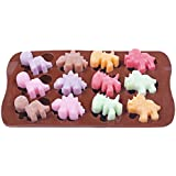 Yunko Bakeware 12-cavities Cute Dinosaur Shape Ice Cube Mold DIY Clay Mold Tray Silicone Mini Cube Craft Fondant Mold Tray