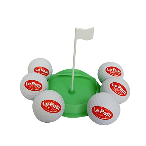 Le Petit Sports - Golf Soft Oversized Foam & Rubber Balls - Pack 6 - with Flag Cup Target (2.5 inch - Low flight - Safe play)