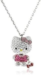 Swarovski Kinder und Jugendliche-Kette Anhänger Palladium Hello Kitty Mini 3D Emaille rosa Kristall Light Siam klar 2.1 x 1.3 cm 40 cm 1192660