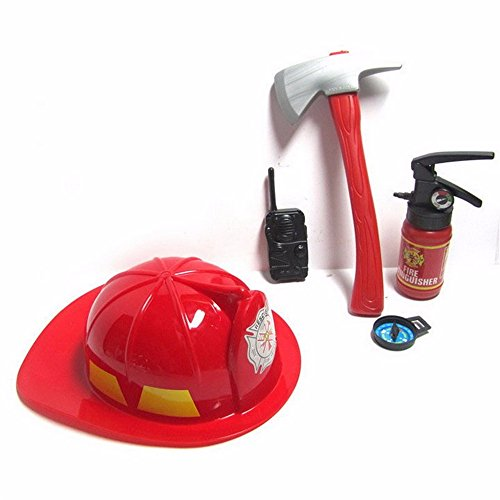 Kids Role Play Firefighter Hat Children Fireman Pretend Kit Rescue Toy 5 Pc (Fireman Dress Up Accessory Kit)