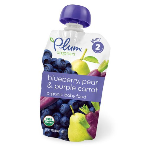 Plum Organics Baby Food, Blueberry, Pear & Purple Carrot, 4-Ounce Pouches (Pack of 24) - 1
