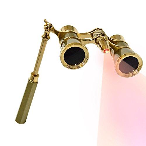 HQRP Binocolo da teatro di colore giallo perlato con finitura d'argento e una catena con nuova tecnologia ottica cristalline (CCO)