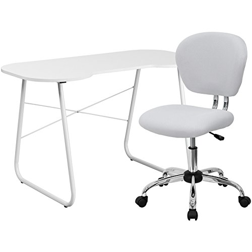 Flash Furniture Computer Desk And Mesh Chair, White