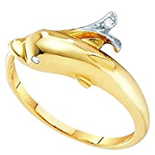 buy 0.03 Carat (Ctw) 10K Yellow Gold Round Cut White Diamond Ladies Right Hand Dolphin Ring (Size 7)