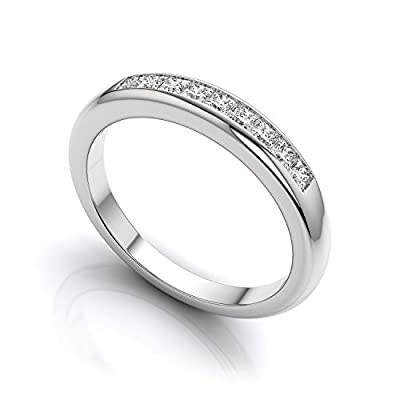 Princess Cut Eternity Ring - Full CZ Diamond Eternity Ring Style - Half Eternity White Gold Look Sterling Silver - Sizes J - T