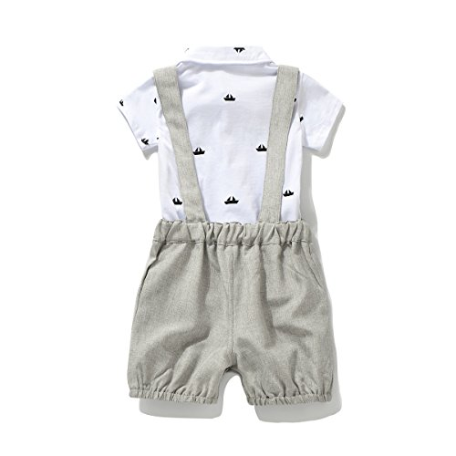Ferenyi US Baby Boys Bowtie Gentleman Romper Jumpsuit Overalls Rompers (0-6 months, Gray)