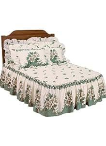 Magnolia Bedspreads Collection - Queen Bedspread, Color Green