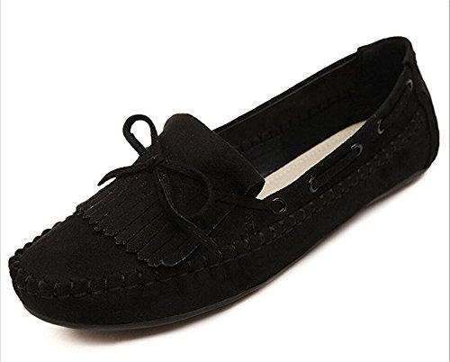 Colnsky Women's?Bowknot Ties Slip On Flat Suede Leather Loafers Shoes Black9 B(M) US New Style (Type Z Shoes Men compare prices)