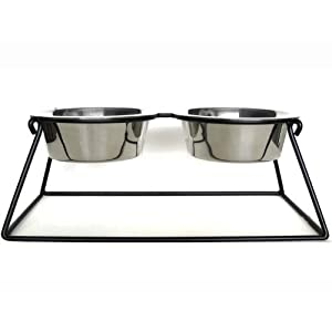 """Pyramid Double Bowl Elevated Diner - 5"""" - Raised Dog Feeder"""