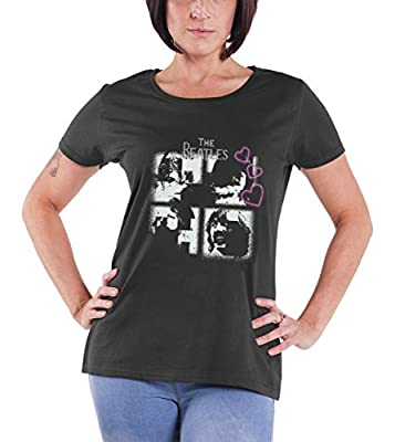 The Beatles Let it be Rhinestone hearts Official Womens New skinny fit T Shirt