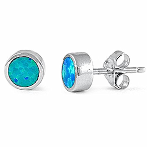 Lab Created Blue Opal Round Studs .925 Sterling Silver Earrings