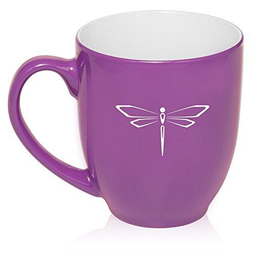 16 Oz Purple Large Bistro Mug Ceramic Coffee Tea Glass Cup Dragonfly