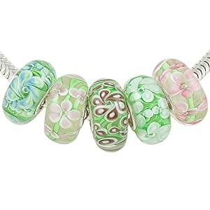 Flower Garden Set of 5 Solid Sterling Core Murano Glass Floral Beads for European Charm Bracelet