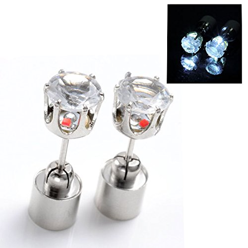 Jovivi Hot New Fashion Light Up Led Earrings Ear Studs - Sell As 1Pair (Lasting Light White)