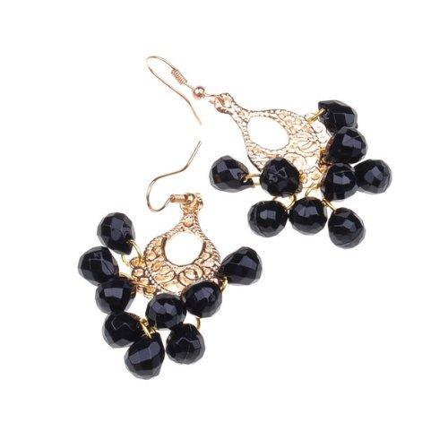 Gold Fishhook Style Earring Black Faux Pearl Dangle Earring Stylish Gift Earring