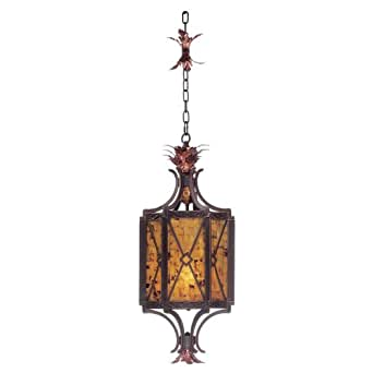 Kalco 2598AC Foyer Hall Pendants with Penshell Glass Shades, Antique Copper Finish