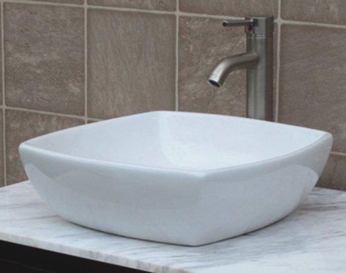 Bathroom Ceramic Porcelain Vessel Vanity Sink 7034/N3 Combo+ Free Brushed Nickel Faucet, Pop Up Drain With No Overflow