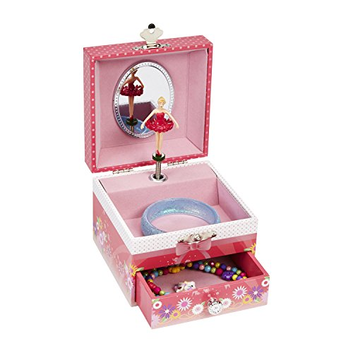 JewelKeeper Musical Jewelry Box with Dancing Ballerina, Ballerina and Flower Design, Girl's Storage Case, Swan Lake Tune