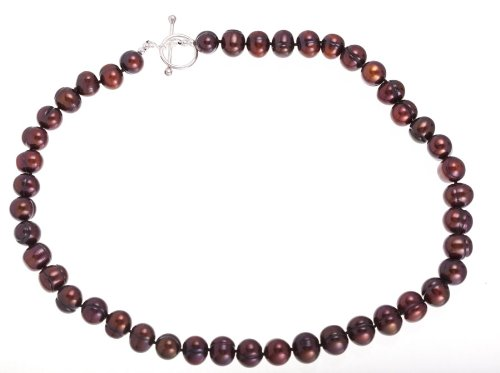 Chocolate Pearl Necklace With Sterling Silver Toggle Clasp (8.0-9.0 mm), 17