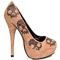 Iron Fist Blush Ladies Sugar Hiccup Platform Sequin Skull Womens Court Shoes