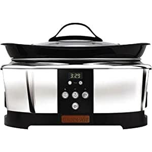 Crock-Pot SCCPBC600-P 6-Quart Countdown Oblong Slow Cooker, Stainless Steel