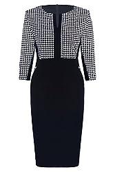 Womdee(TM) Women Formal Houndstooth-Print 2/3 Sleeve V-Neck Business Pencil Dress