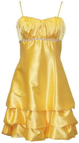 Satin Bubble Mini Dress Prom Formal Holiday Party Cocktail Gown Bridesmaid, Large, yellow