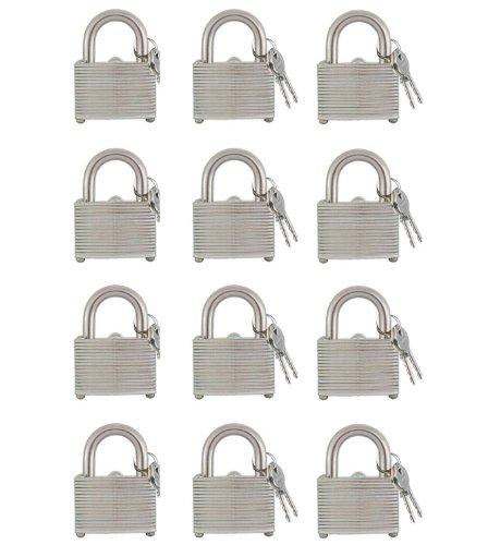 12 Piece Padlock Set Keyed Alike 1.5 Inch Laminated Hardened Steel Shackle