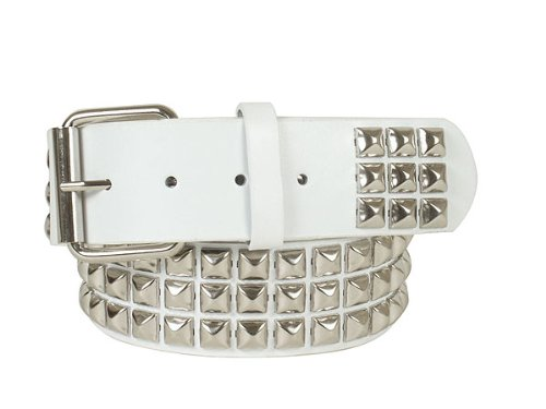 """1 3/4"""" (45 mm) Snap On Three Row Punk Rock Star Metal Silver Studded Leather Belt Size: M/L - 33""""-36"""" Color: White"""