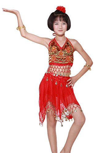 AveryDance Girl's Belly Dance Costumes Set Halter Tops and Skirts Gold Coins