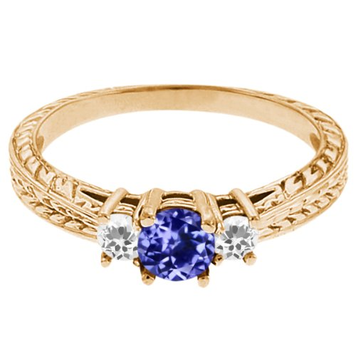 0.58 Ct Round Blue Tanzanite White Topaz 18K Yellow Gold 3-Stone Ring