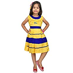 Hawai Yellow & Blue Solid Frock For Girl