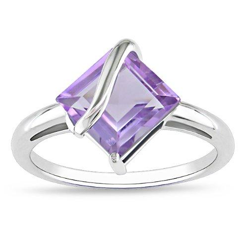 Sterling Silver 2 1/4 CT TGW Square Amethyst Fashion Ring
