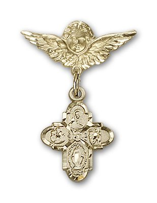 Gold Filled Baby Badge with 4-Way Charm and Angel w/Wings Badge Pin