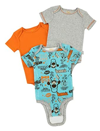 "Disney Cuddly Bodysuit with Grow an Inch Snaps, Tigger "" Let's Bounce""  3 Pack, Turquoise/Heather/Orange, 3-6 Months"