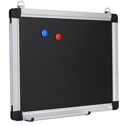 Mateboard-Wall-Mounted-15-x-12-Inch-Magnetic-Small-Black-Chalkboard-Message-Scoreboard-with-2-Hanging-Hooks-Pent-Tray-and-2-Magnets-Blackboard-for-Home-School